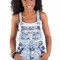 "Acid wash destroyed denim overall shorts ""shortall"" with pockets                           