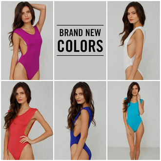 jumpsuit angl new bodysuit open sides magenta ruby royal blue teal white new arrival underwear style fashion sexy stretchy