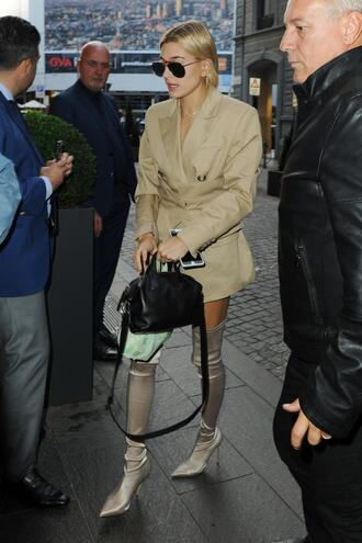 shoes boots hailey baldwin model off-duty milan fashion week 2017 streetstyle coat trench coat