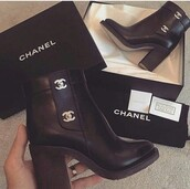 shoes,black boots,leather,black,chanel,ankle boots,gold,logo,chunky heel,heels,high,boots,platform shoes,platform boots