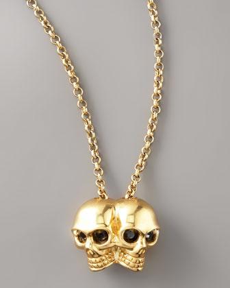 Alexander McQueen Conjoined Skull Pendant Necklace - Neiman Marcus