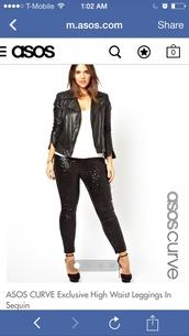 pants,sequins,sequin pants,leggings,asos,plus size,high waisted pants,black