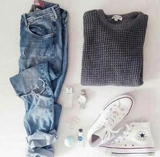 sweater grey grey sweater daisy sweater daisy jeans
