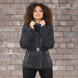 coat maniere de voir tight quilted paded padded down belted zips black essential zara jacket down jacket