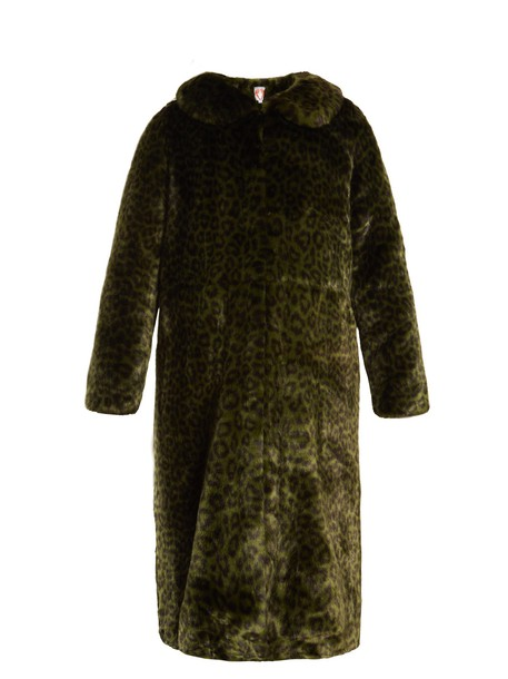 Shrimps coat fur coat fur print dark green