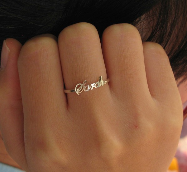 Jewels name ring silver name ring silver ring jewelry for Personalized last name university shirts