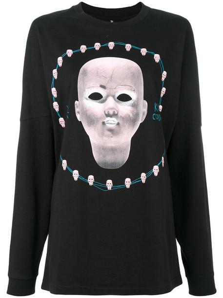 R13 - digital print long sleeve shirt - women - Cotton - S, Black, Cotton
