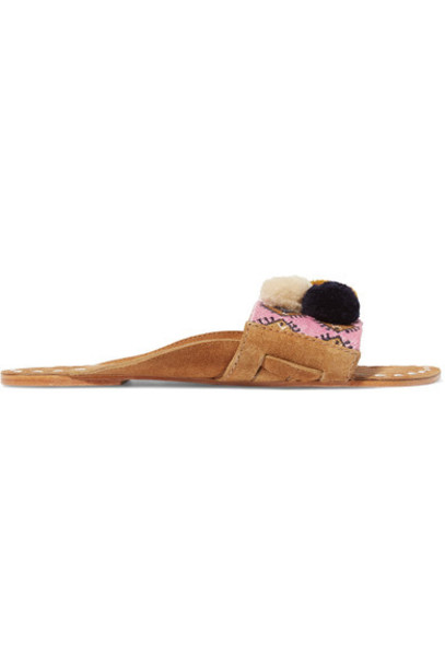 Figue embroidered embellished suede pink shoes
