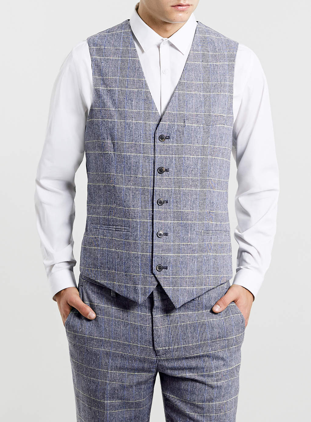 MULTI COLOURED CHECKED SUIT WAISTCOAT