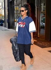 t-shirt,fila,rihanna,oversized t-shirt,oversized