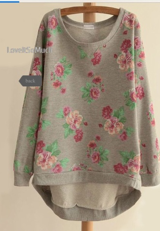 lomg pink flowers sweater oversized