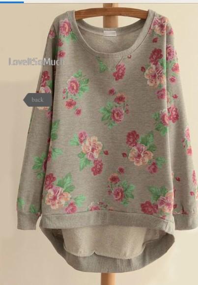 pink flowers lomg sweater oversized