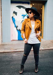 mimi & chichi blog,blogger,jacket,jeans,top,fall outfits,yellow jacket,skinny jeans,black hat