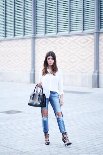 dulceida bag blouse jeans shoes jewels