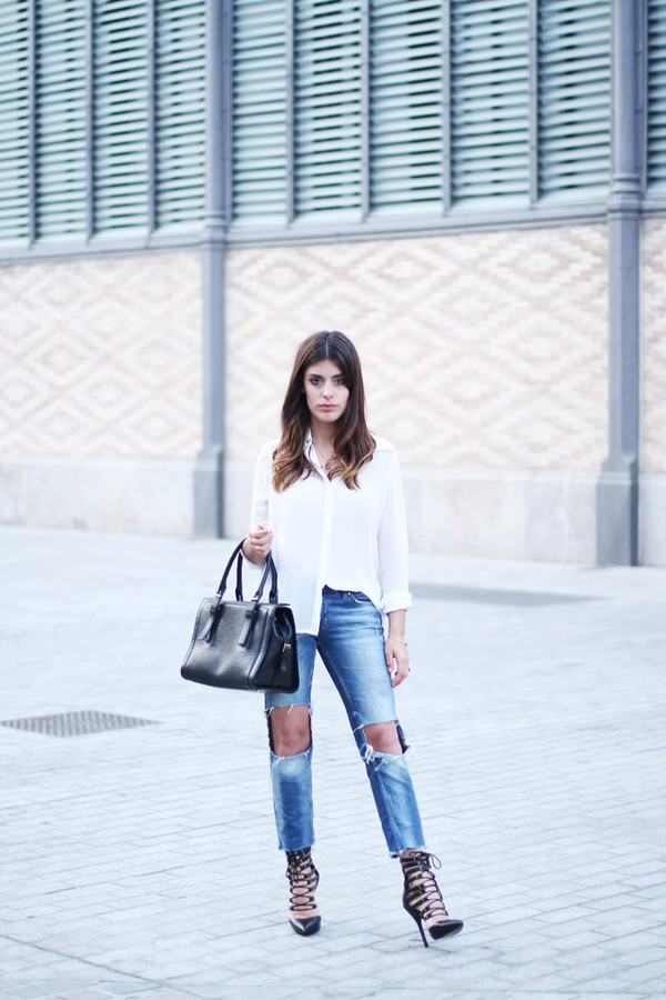 dulceida bag blouse jeans shoes jewels