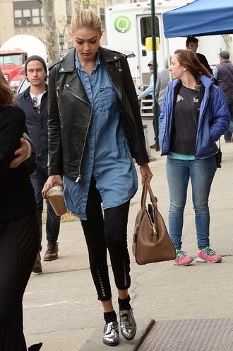 jacket gigi hadid denim denim blouse leather jacket fashion model style new york city blouse model off-duty