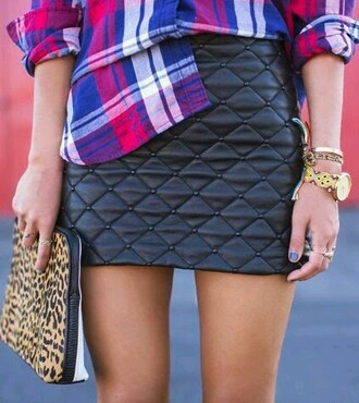 skirt black quilted little black dress leather cute sexy