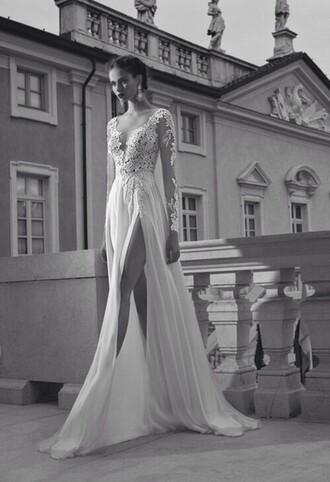 dress black white black and white wedding dress prom dress lace dress white dress long dress model long sleeve dress style fashion slit dress