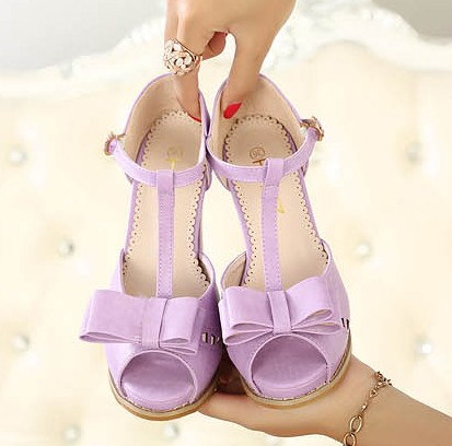 Nude White Pink Platform Korean Women Shoes Peep Toes Lavender High Heels T Strap Chunky Heel Sandals With Bow Summer Pumps-inSandals from Shoes on Aliexpress.com