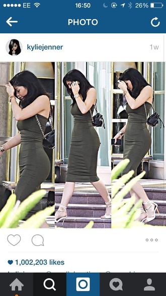 dress kylie jenner sleeveless dress strapless dress style red lime sunday