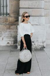 lefashion,blogger,sunglasses,blouse,bag,pants,round bag,maxi skirt,white t-shirt,spring outfits