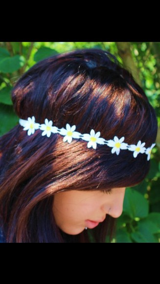 jewels elastic fashion head band hairband daisy sunflower white yellow pretty fashion trend