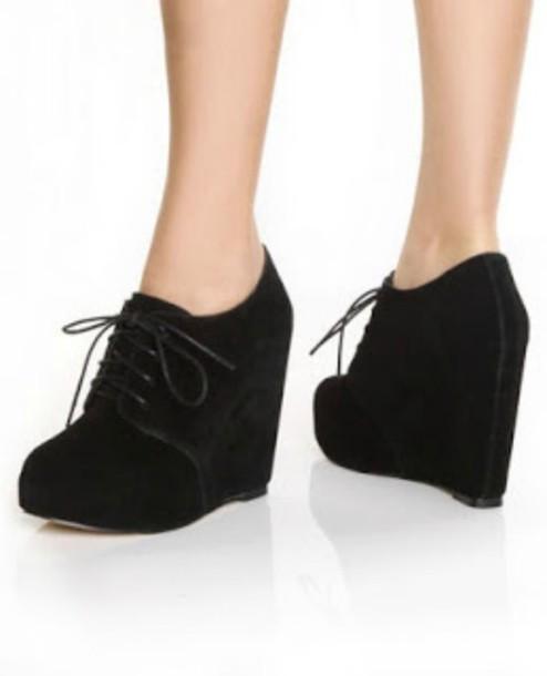 Shoes Suede High Heels Cute Wedges Black Lolita