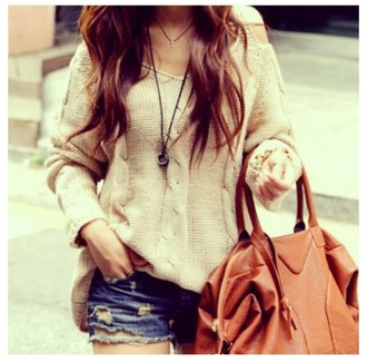 sweater beige sweater knitted sweater cut out shoulder cut out shoulders sweater