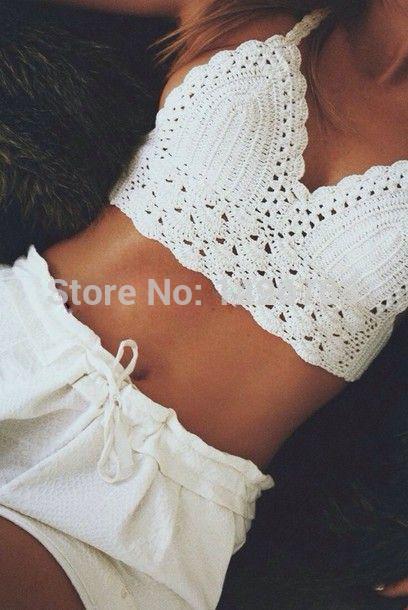 White crochet bikini swimwear sexy handmade crocheted classic crop top,bra top on aliexpress.com