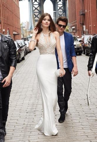 dress white jewl silk white dress elegant dress graduation dress