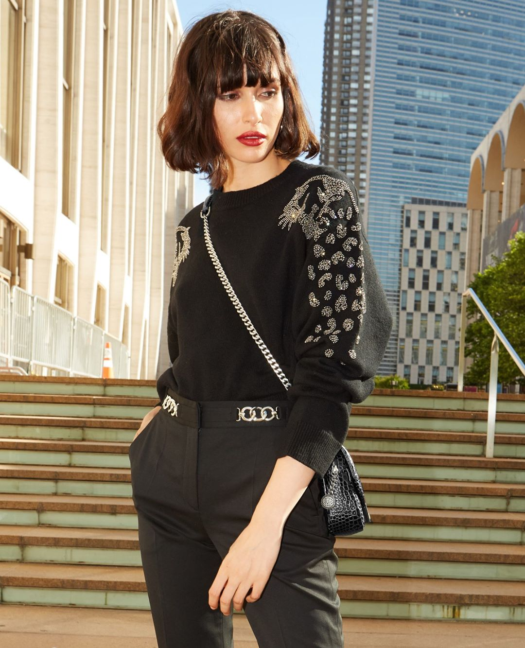 Black formal sweater with rhinestone leopard