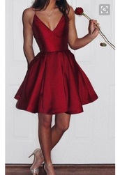 dress,red dress,red,short dress,scoop,shiny,silk,silk dress,semi formal,homecoming,short homecoming dress,red homecoming dress,sexy homecoming dresses,satin,pockets,satin dress,prom dress,little reddress,marroon,sexy short dresses,cute,short,prom,wedding,rose,burgundy dress short t,beautiful,spaghetti strap,flare,flare dress,spaghetti straps dress,short fitted dresses,holidays,plunge dress,skater dress,deep v dress,make-up,homecoming dress,v line,burgundy,v-nec,straps,res dress,thin straps,deesses,mini dress,looks like red satin,red prom dress,party dress,party,party outfits,burgundy dress,simple dress,new year's eve,same color and style