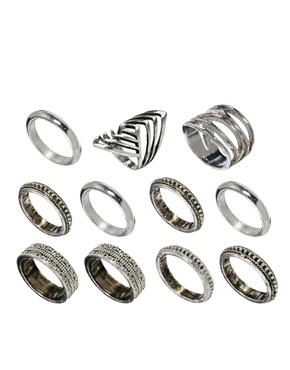 ASOS | ASOS Patterned All Finger Ring Pack at ASOS