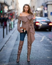 jacket,blazer,check blazer,asymmetrical,off the shoulder,jeans,skinny jeans,boots,over the knee,clutch