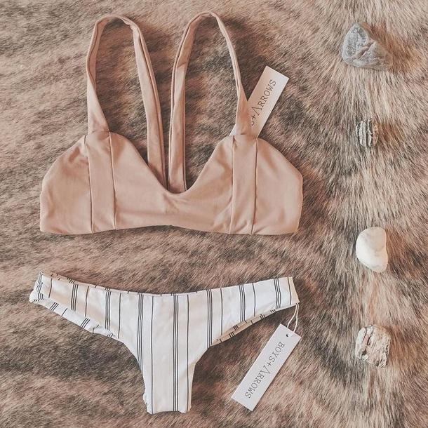 swimwear creme two pieces swimsuit bikini top striped bikini bikini bottoms bikini summer dress summer summer outfits créme top peach peach colour white black grey black and white