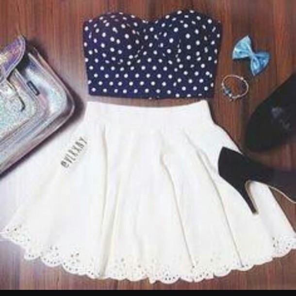 dress dark blue white black high heels blue bow rose