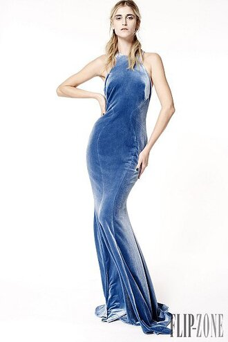 dress halter neck blue velvet velour velvet dress blue dress zac posen fall winter 2015 2015 designer dress light blue