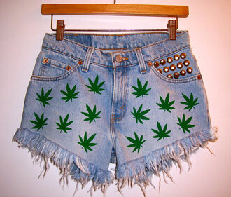 shorts high waisted denim shorts marijuana pot leaf weed festival clothes summer outfits frayed shorts studded shorts levi's cut offs jeans mary jane cannabis swag green studed studed jeans ganja