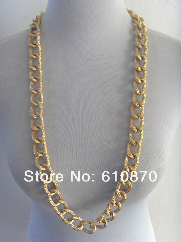 "2013 Fashion Man Women Jewelry Gold Chains Chunky Aluminium  Necklace38"" body jewelry  Free shipping-in Chain Necklaces from Jewelry on Aliexpress.com"