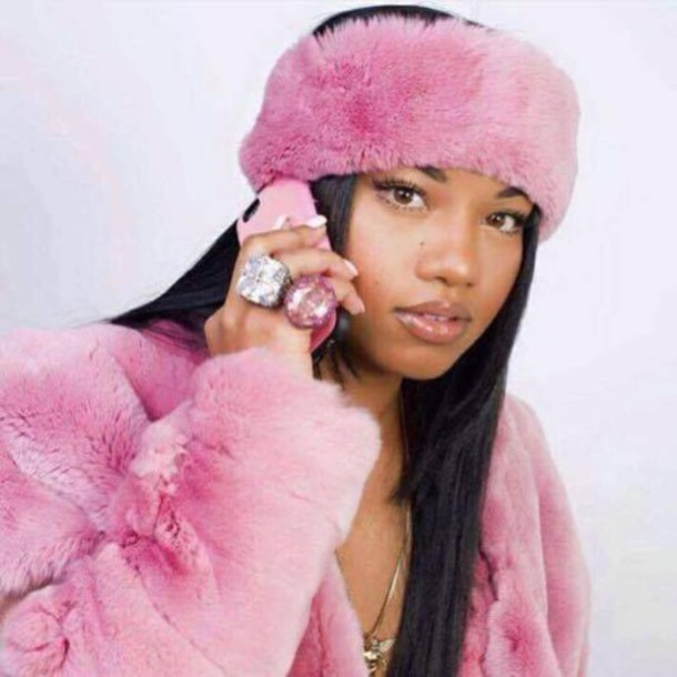 Coat: diamonds, statement ring, faux fur, faux fur jacket, pink ...