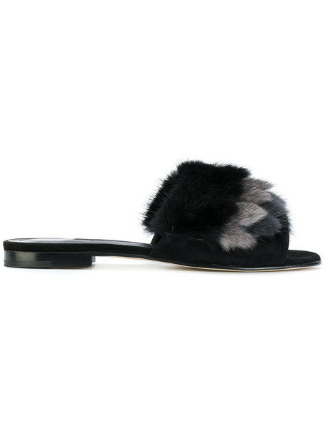 Manolo Blahnik fur women sandals leather suede black shoes