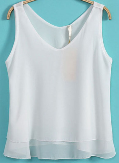 63b586eb9047d White V Neck Sleeveless Double Layers Chiffon Vest - Sheinside.com