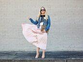 cortinsession,blogger,skirt,top,jacket,bag,jewels,sunglasses,shoes,midi skirt,pink skirt,pleated skirt,high heel sandals,denim jacket,clutch,bow