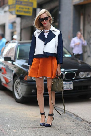 color block skirt jacket orange fashion week 2014 spring