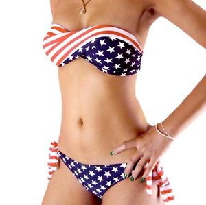 USA American Flag Bandeau Padded Twisted Bikini Bra Top Set Swimwear Swimsuit | eBay