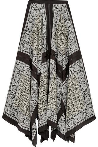 skirt midi skirt midi print black silk paisley