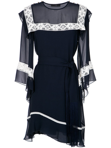 Nk dress women lace cotton blue silk