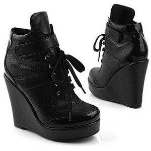 Wedge Heels KPOP Celebrities High Top Lace Up Sneakers 918 Black ...