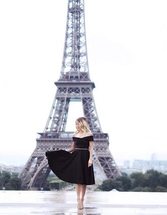 laminlouboutins blogger top skirt shoes belt jewels sandals high heel sandals off the shoulder dress little black dress black dress