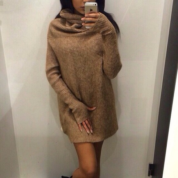 sweater dress brown dress style fall sweater turtleneck top